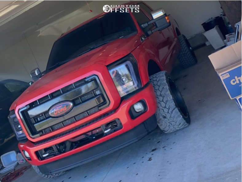 """2012 Ford F-250 Super Duty Aggressive > 1"""" outside fender on 22x12 -44 offset Axe Offroad Ax1.0 and 33""""x12.5"""" Amp Mud Terrain Attack M/t A on Level 2"""" Drop Rear - Custom Offsets Gallery"""