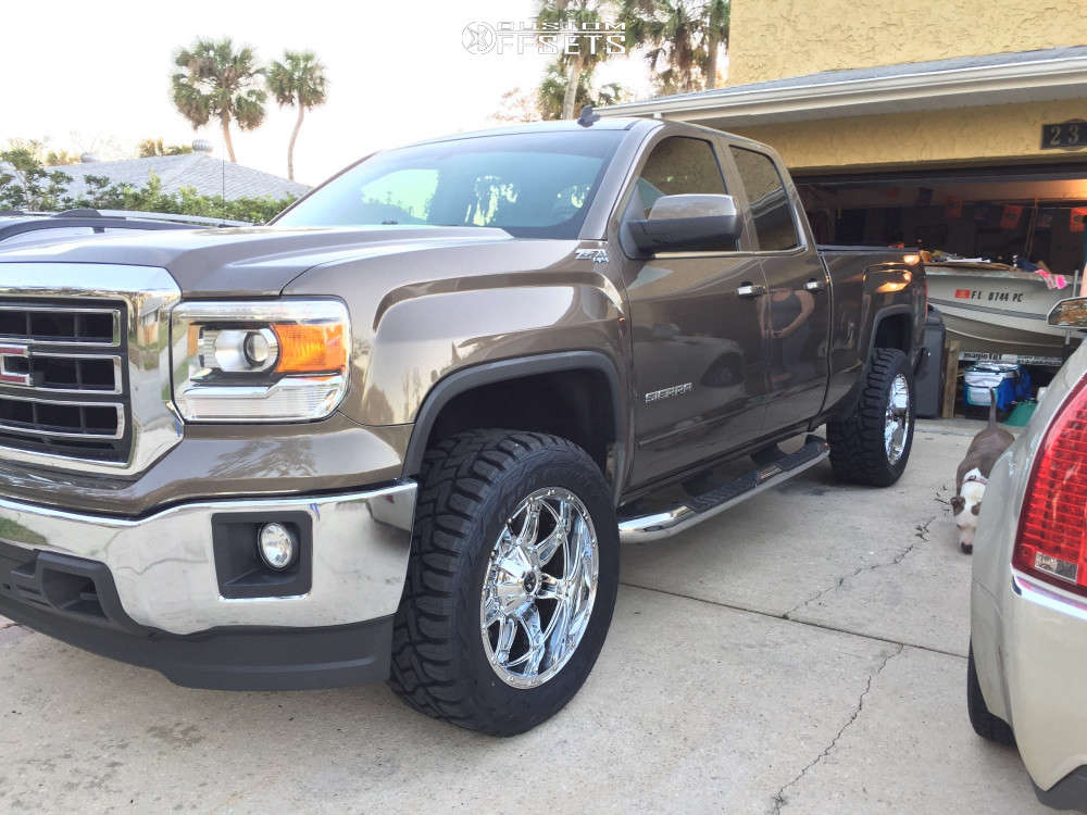 """2014 GMC Sierra 1500 Aggressive > 1"""" outside fender on 20x10 -12 offset Fuel Hostage and 33""""x12.5"""" Toyo Tires Open Country R/t on Leveling Kit - Custom Offsets Gallery"""