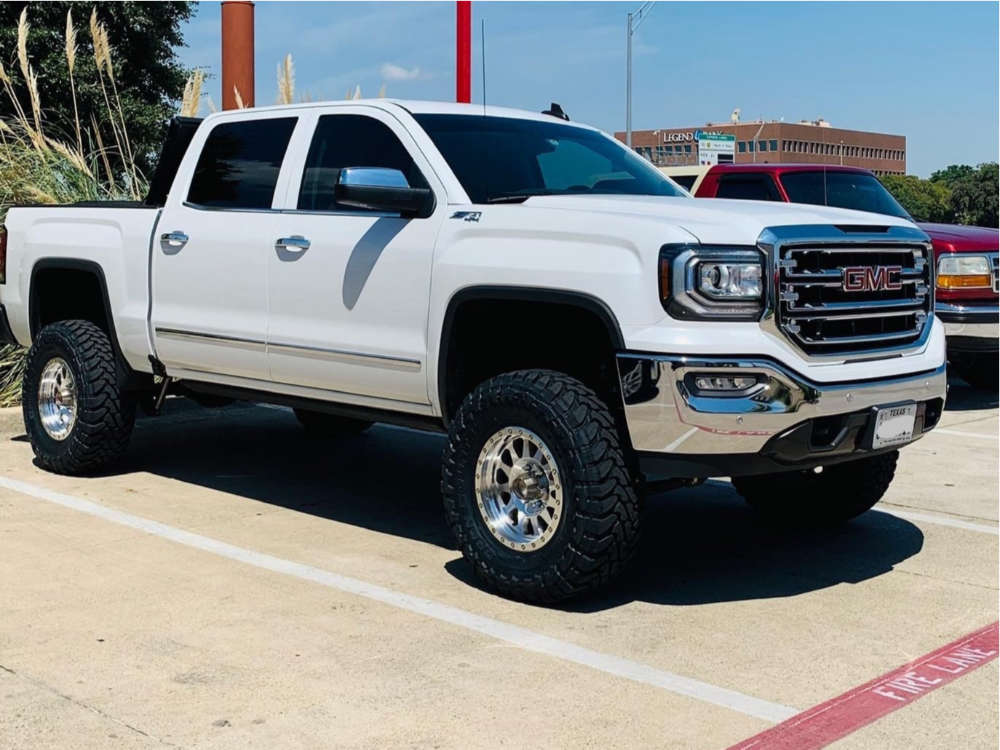 """2017 GMC Sierra 1500 Aggressive > 1"""" outside fender on 17x9 -12 offset Method Double Standard and 35""""x12.5"""" Toyo Tires Open Country Mt on Suspension Lift 6"""" - Custom Offsets Gallery"""