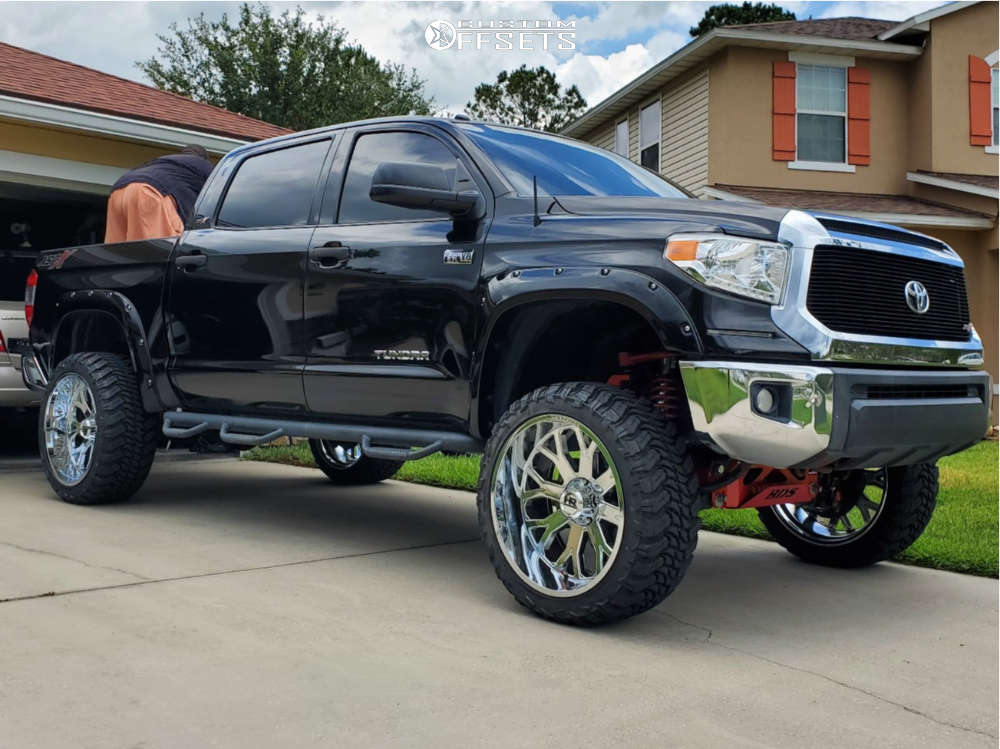 """2015 Toyota Tundra Aggressive > 1"""" outside fender on 24x12 -44 offset Hardrock Slammer Xposed and 35""""x13.5"""" Atturo Trail Blade Mts on Suspension Lift 7"""" - Custom Offsets Gallery"""