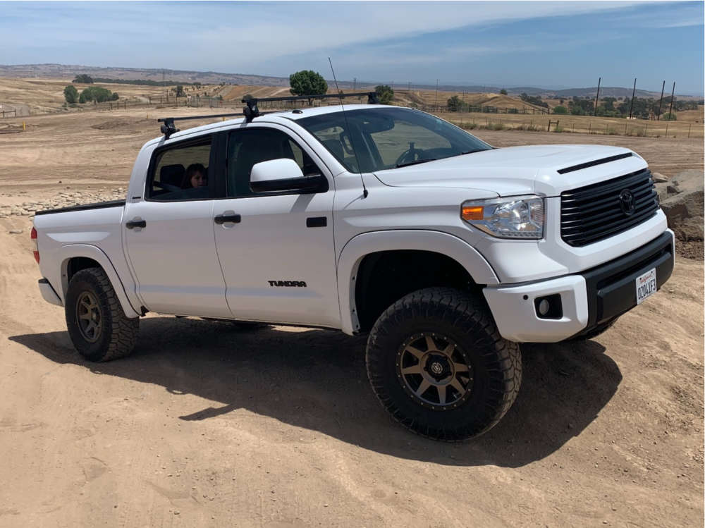"""2015 Toyota Tundra Slightly Aggressive on 17x8.5 25 offset Icon Rebound and 35""""x12.5"""" Nitto Ridge Grappler on Suspension Lift 3.5"""" - Custom Offsets Gallery"""
