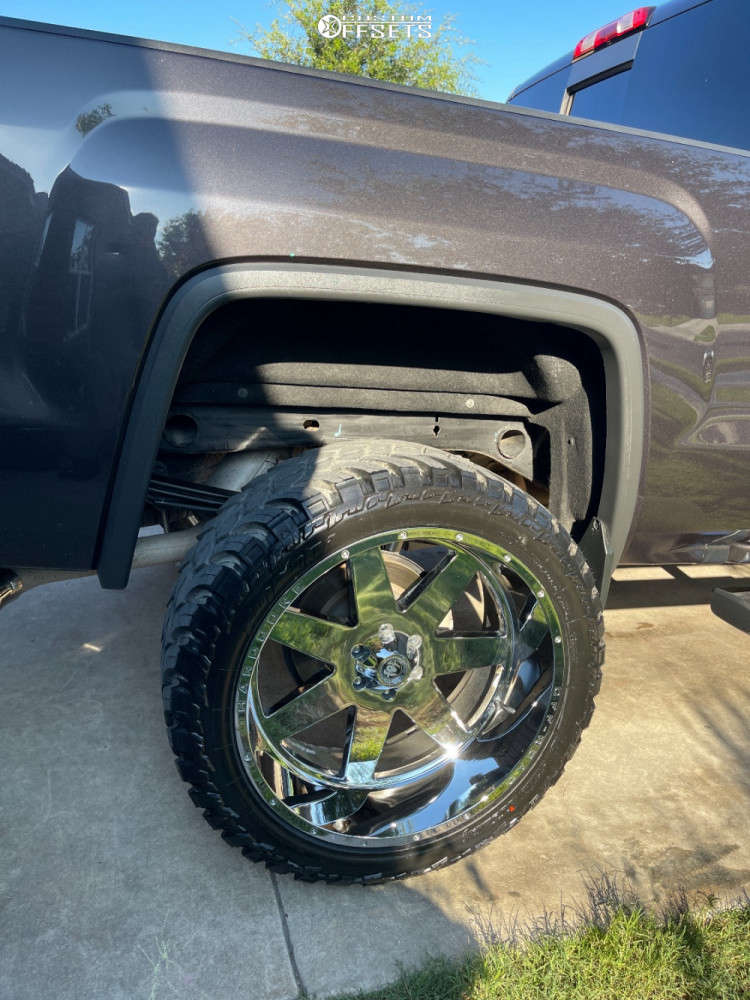 """2016 GMC Sierra 1500 Aggressive > 1"""" outside fender on 24x12 -44 offset Hardcore Offroad Hc14 and 35""""x13.5"""" AMP Mud Terrain Attack M/t A on Suspension Lift 6.5"""" - Custom Offsets Gallery"""