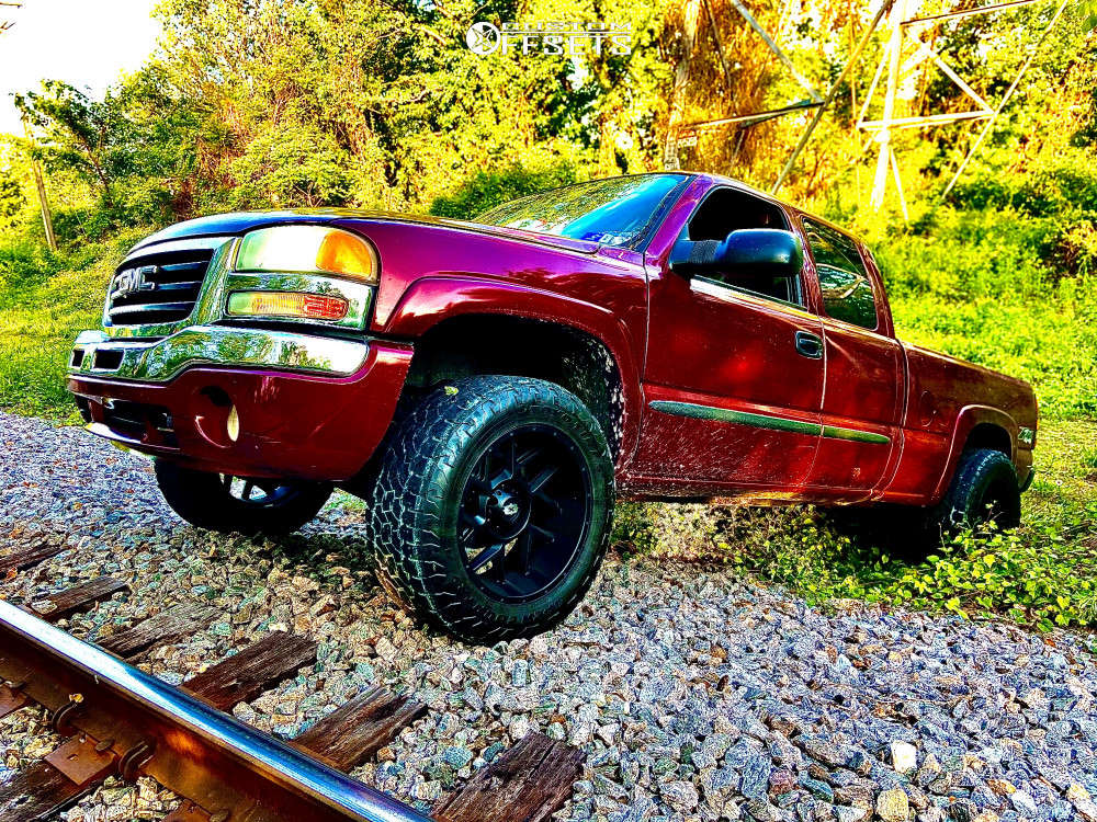 """2004 GMC Sierra 1500 Super Aggressive 3""""-5"""" on 20x10 -25 offset Vision Sliver 360 and 285/60 Toyo Tires Open Country A/t Ill on Leveling Kit - Custom Offsets Gallery"""