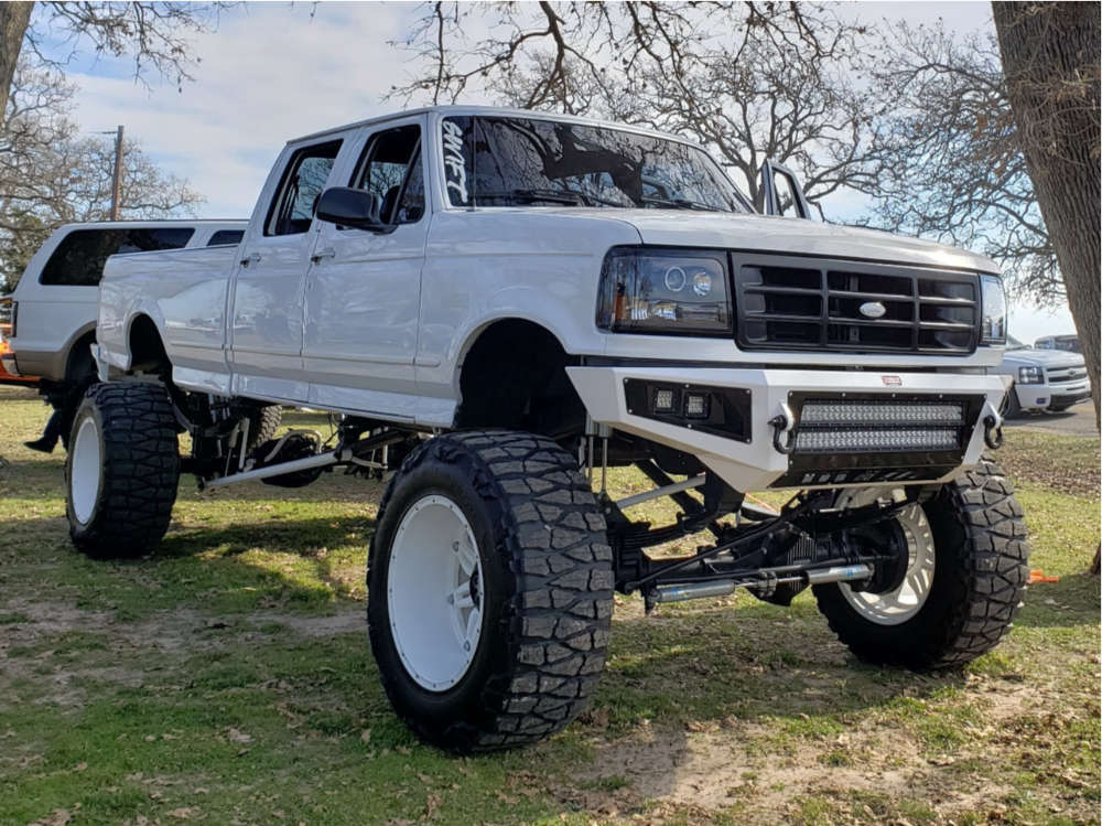 """1997 Ford F-350 Hella Stance >5"""" on 22x14 -76 offset Fuel Hostage and 40""""x15.5"""" Nitto Mud Grappler on Suspension Lift 12"""" - Custom Offsets Gallery"""