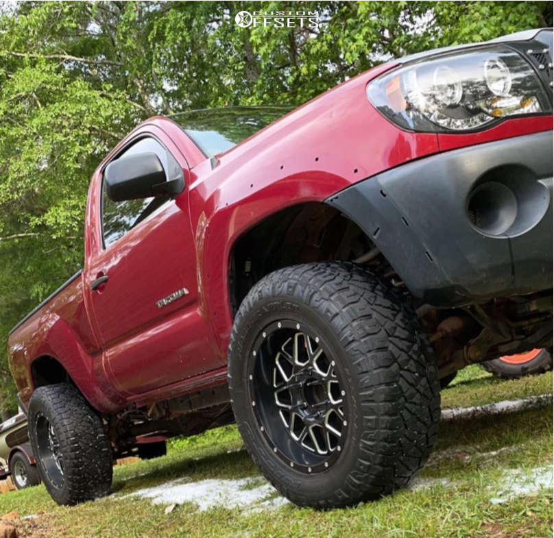 """2005 Toyota Tacoma Aggressive > 1"""" outside fender on 18x9 0 offset XD Grenade and 275/12.5 Nitto Ridge Grapplers on Leveling Kit - Custom Offsets Gallery"""
