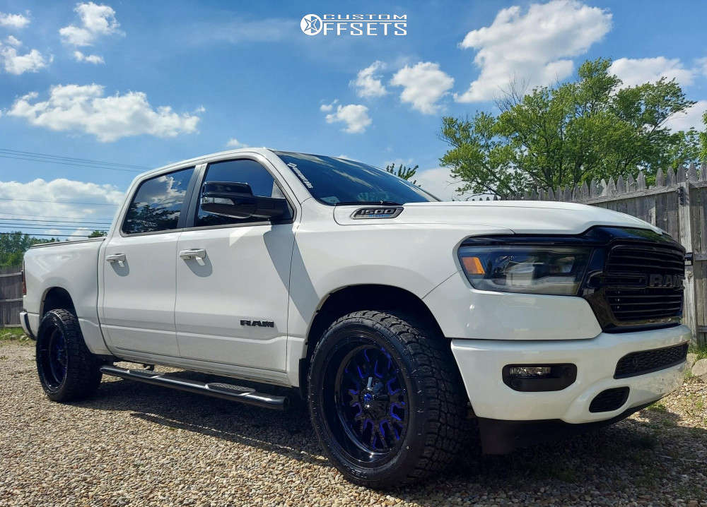 """2021 Ram 1500 Aggressive > 1"""" outside fender on 22x10 -19 offset Fuel Stroke and 305/45 Nitto Terra Grappler G2 on Stock Suspension - Custom Offsets Gallery"""