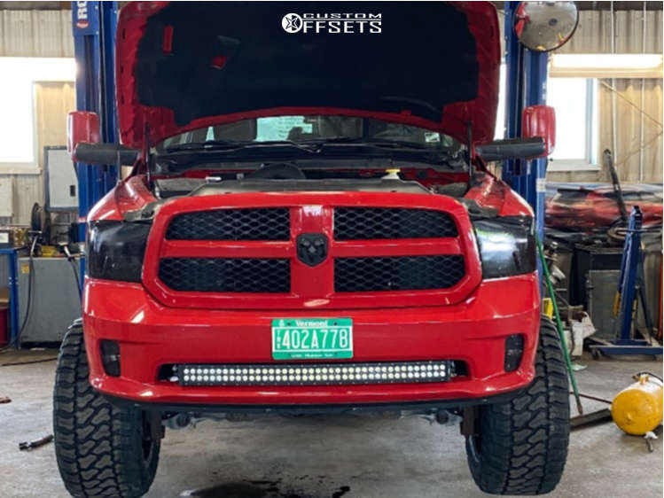 """2017 Ram 1500 Hella Stance >5"""" on 20x12 -51 offset Vision Widow and 35""""x15.5"""" Fury Country Hunter Mt on Suspension Lift 6"""" - Custom Offsets Gallery"""
