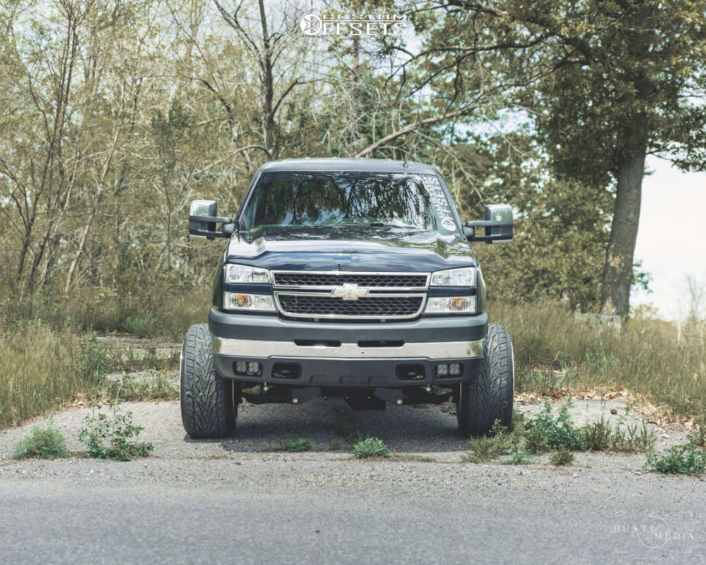 """2007 Chevrolet Silverado 2500 HD Classic Hella Stance >5"""" on 22x14 -76 offset Fittipaldi Offroad Ftf13 and 305/45 Toyo Tires Proxes St Iii on Suspension Lift 4.5"""" - Custom Offsets Gallery"""