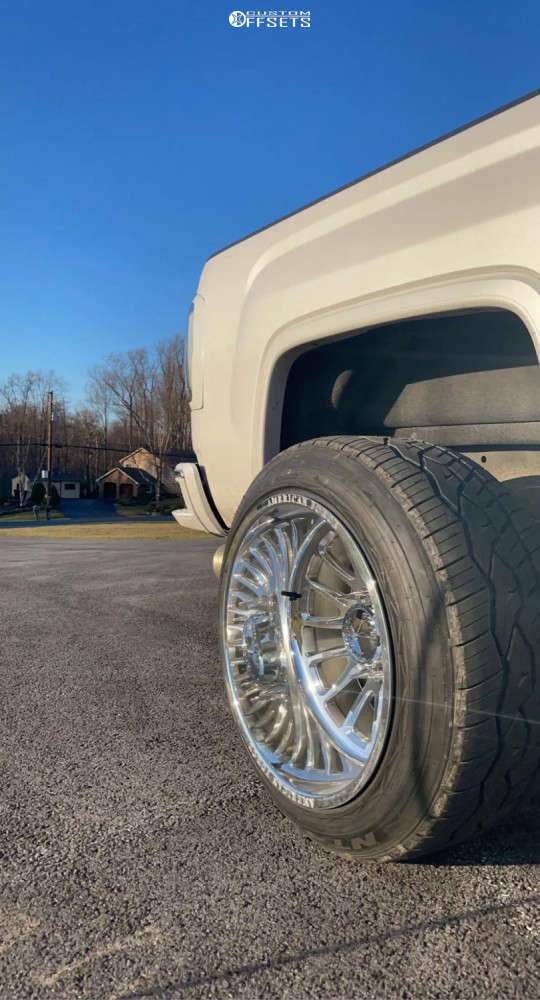 """2019 GMC Sierra 2500 HD Aggressive > 1"""" outside fender on 22x14 -90 offset American Force Nemesis Cc and 305/45 Nitto Nt420v on Level 2"""" Drop Rear - Custom Offsets Gallery"""