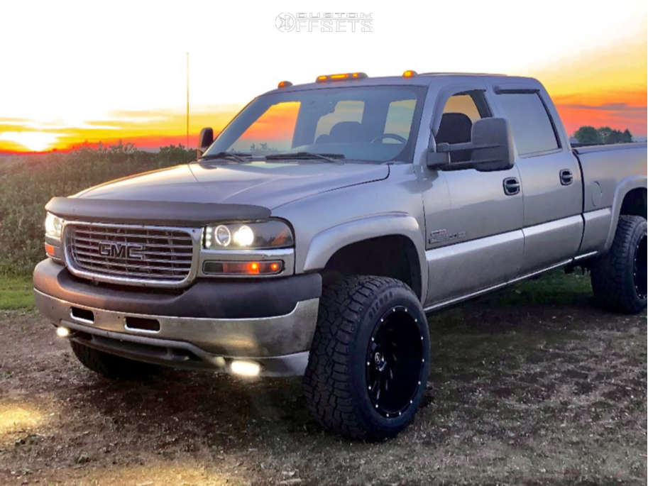 """2002 GMC Sierra 2500 HD Super Aggressive 3""""-5"""" on 20x12 -44 offset Xf Offroad Xf-209 and 33""""x12.5"""" Sierra Radial A/t on Stock Suspension - Custom Offsets Gallery"""