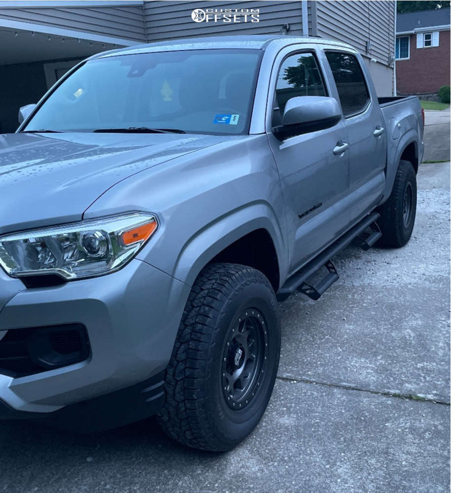 """2021 Toyota Tacoma Aggressive > 1"""" outside fender on 16x8 0 offset XD Xd127 and 265/75 Hankook Dynapro At-m on Stock Suspension - Custom Offsets Gallery"""
