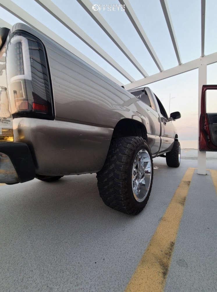 "2003 Chevrolet Silverado 1500 Aggressive > 1"" outside fender on 20x12 -44 offset Fuel Maverick D260 and 33""x12.5"" Falken Wildpeak Mt on Body Lift 3"" - Custom Offsets Gallery"