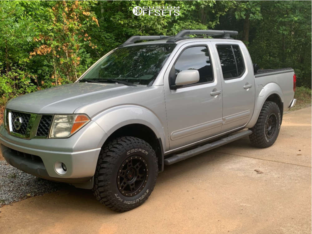 """2008 Nissan Frontier Slightly Aggressive on 16x8 0 offset Dx4 Terrain and 31""""x10.5"""" Cooper Evolution Mt on Suspension Lift 2.5"""" - Custom Offsets Gallery"""