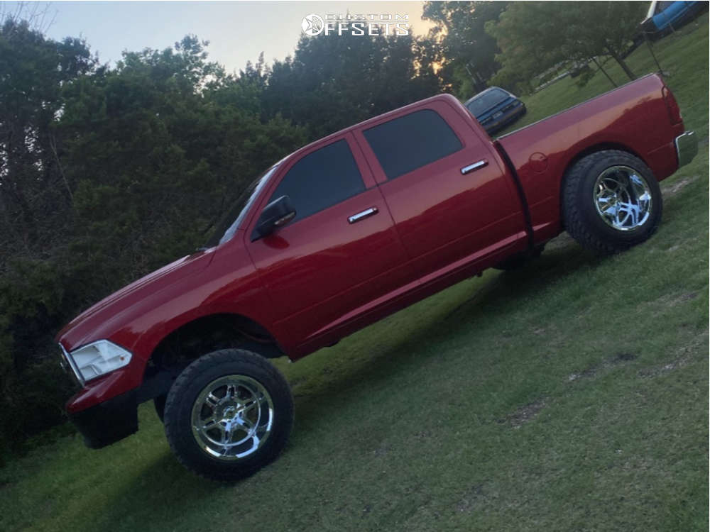 """2010 Dodge Ram 1500 Hella Stance >5"""" on 20x14 -76 offset Full Throttle Ft-3 and 35""""x12.5"""" Arroyo Tamarock M/t on Suspension Lift 6"""" - Custom Offsets Gallery"""