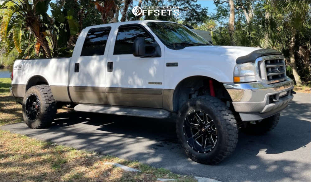 """2002 Ford F-250 Super Duty Aggressive > 1"""" outside fender on 20x12 -44 offset Ballistic Rage 959 and 35""""x12.5"""" Ironman All Country Mt on Suspension Lift 4"""" - Custom Offsets Gallery"""
