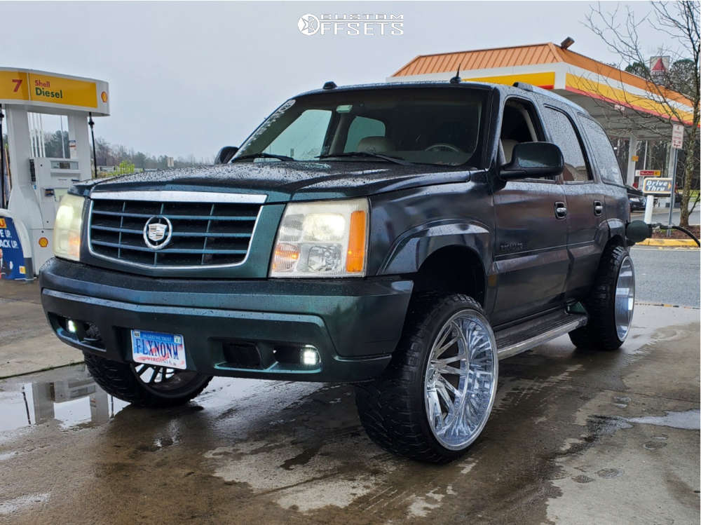 """2005 Cadillac Escalade Aggressive > 1"""" outside fender on 24x14 -76 offset Tuff T2a and 33""""x12.5"""" Comforser Cf3000 on Leveling Kit - Custom Offsets Gallery"""
