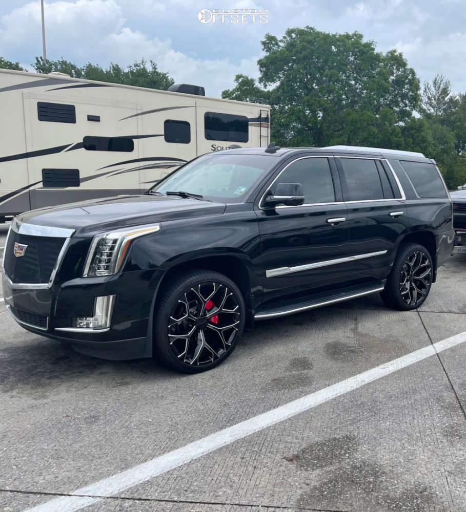 """2016 Cadillac Escalade Aggressive > 1"""" outside fender on 24x9.5 0 offset OE Replicas Flakes & 295/35 Lionhart X-Thirty on Stock Suspension - Custom Offsets Gallery"""