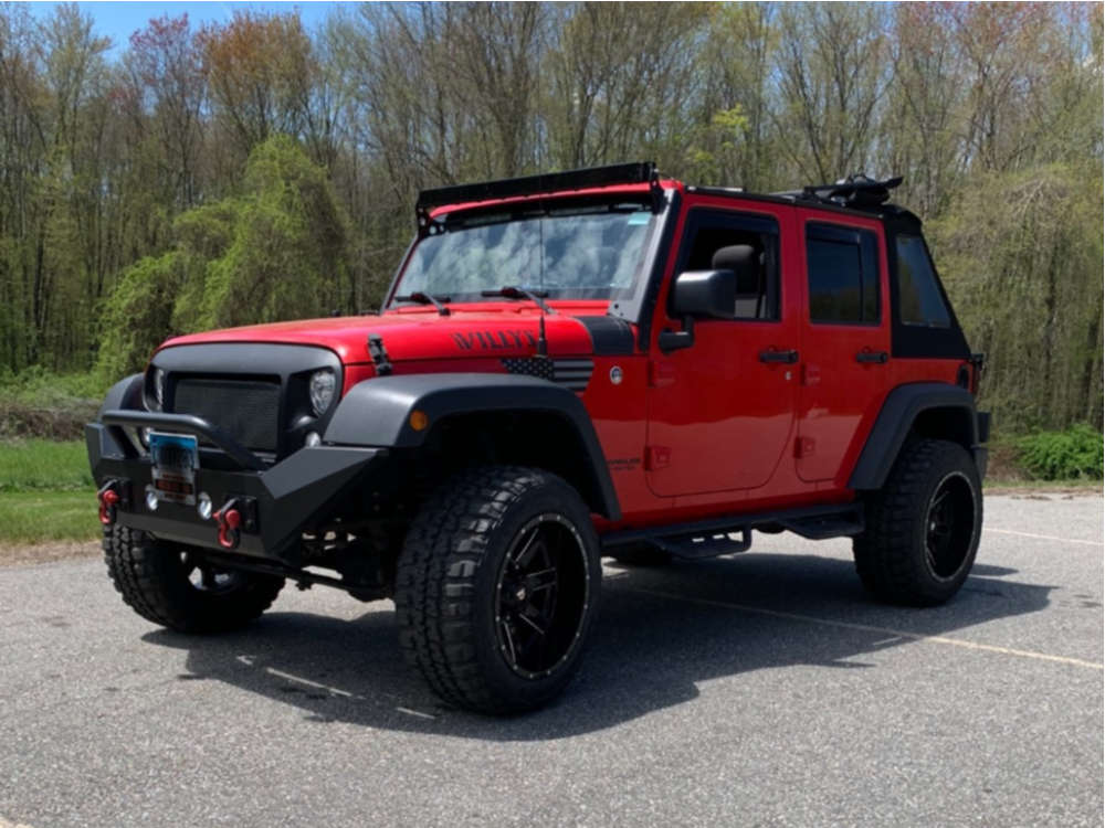 """2017 Jeep Wrangler JK Aggressive > 1"""" outside fender on 20x12 -44 offset Ballistic 959 and 33""""x12.5"""" Federal Couragia M/t on Suspension Lift 2.5"""" - Custom Offsets Gallery"""