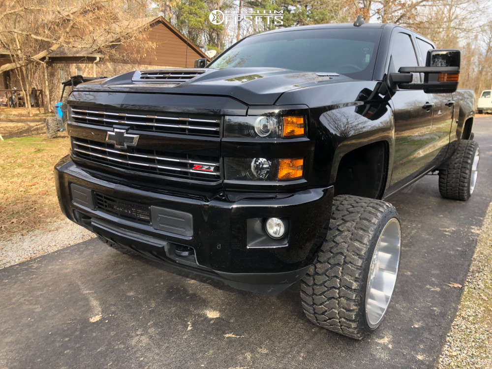 """2017 Chevrolet Silverado 2500 HD Super Aggressive 3""""-5"""" on 24x14 -76 offset Cali Offroad Summit & 33""""x14.5"""" Fury Offroad Country Hunter Mt on Suspension Lift 5"""" - Custom Offsets Gallery"""