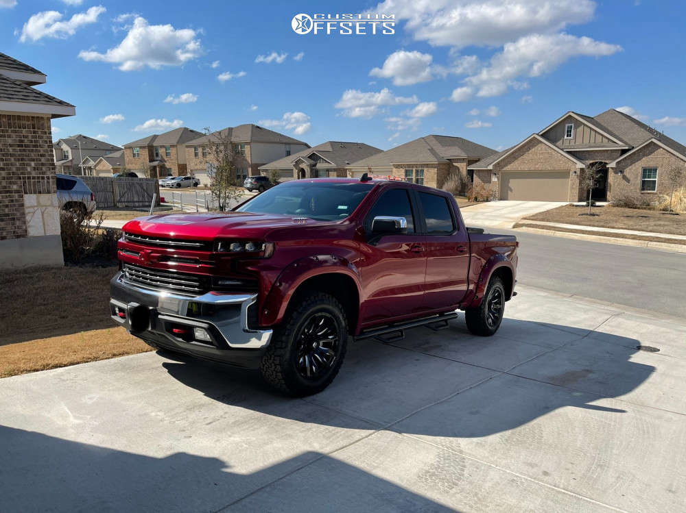 "2021 Chevrolet Silverado 1500 Aggressive > 1"" outside fender on 20x9 0 offset Fuel D606 and 33""x10.5"" BFGoodrich All Terrain Ta Ko2 on Stock - Custom Offsets Gallery"