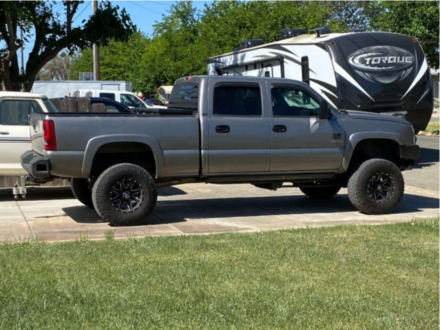 """2006 Chevrolet Silverado 2500 HD Super Aggressive 3""""-5"""" on 17x10 -24 offset Fuel Maverick and 35""""x12.5"""" Toyo Tires Open Country A/t Ii on Suspension Lift 6"""" - Custom Offsets Gallery"""