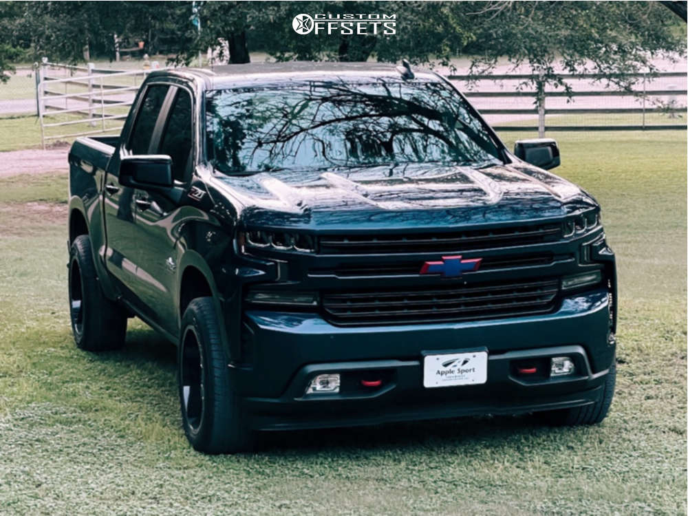 """2020 Chevrolet Silverado 1500 Aggressive > 1"""" outside fender on 20x10 -19 offset Off Road Monster M19 and 31""""x10.5"""" Goodyear Wrangler on Stock Suspension - Custom Offsets Gallery"""