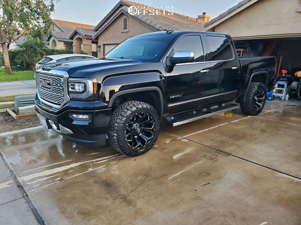 """2017 GMC Sierra 1500 Slightly Aggressive on 20x10 -19 offset Fuel Assault and 33""""x10.5"""" Nitto Ridge Grappler on Leveling Kit - Custom Offsets Gallery"""