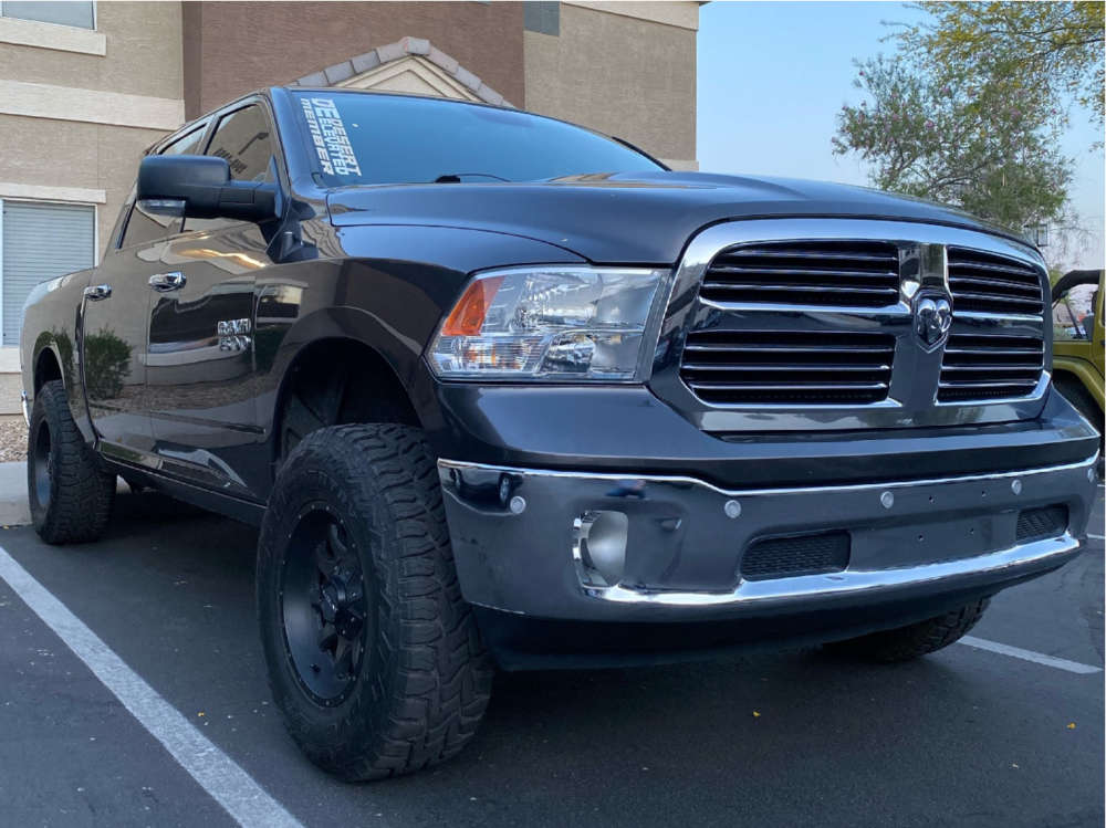 """2016 Ram 1500 Aggressive > 1"""" outside fender on 17x9 0 offset Raceline Shift and 33""""x12.5"""" Toyo Open Country R/t on Leveling Kit & Body Lift - Custom Offsets Gallery"""