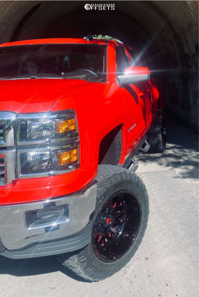 """2015 Chevrolet Silverado 1500 Aggressive > 1"""" outside fender on 20x12 -43 offset Fuel Stroke and 35""""x12.5"""" Fury Offroad Country Hunter Mt on Suspension Lift 7.5"""" - Custom Offsets Gallery"""
