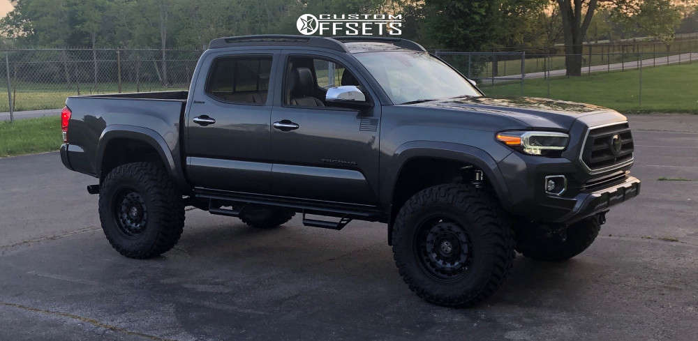 """2020 Toyota Tacoma Aggressive > 1"""" outside fender on 18x9.5 -18 offset Black Rhino Arsenal and 35""""x12.5"""" Nitto Trail Grappler on Suspension Lift 6"""" - Custom Offsets Gallery"""