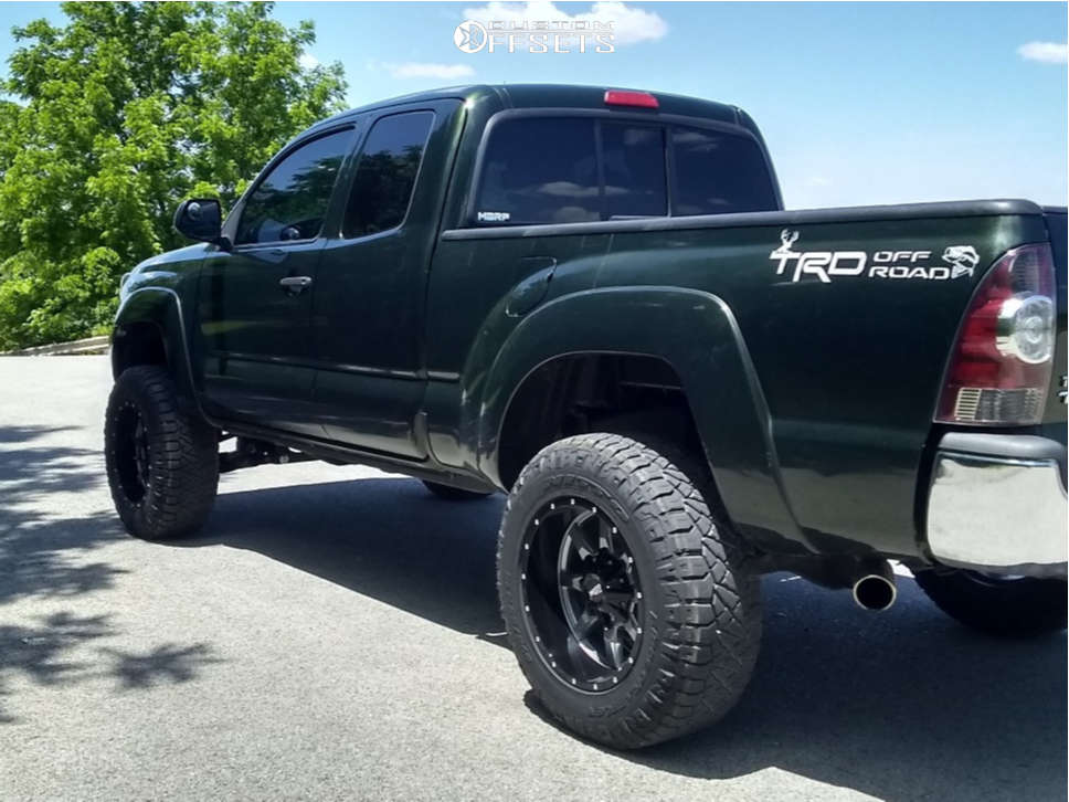 """2012 Toyota Tacoma Aggressive > 1"""" outside fender on 18x10 -24 offset Moto Metal Mo970 and 275/65 Nitto Ridge Grappler on Suspension Lift 4"""" - Custom Offsets Gallery"""