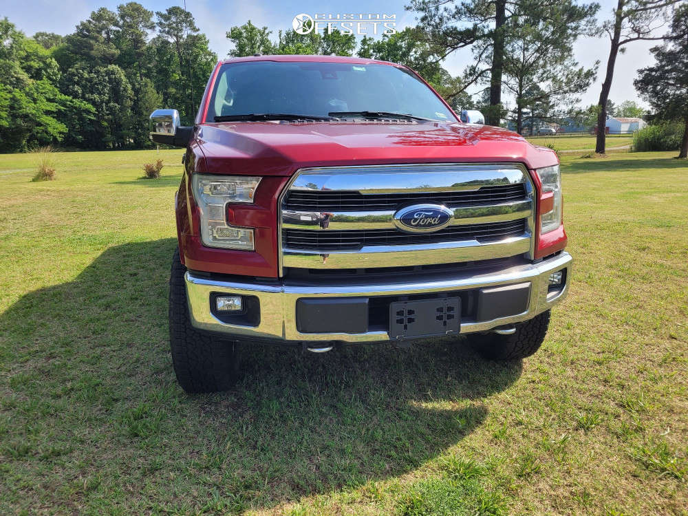 """2015 Ford F-150 Aggressive > 1"""" outside fender on 20x9 0 offset Panther Offroad 580 and 275/65 Goodyear Wrangler Trailrunner At on Leveling Kit - Custom Offsets Gallery"""