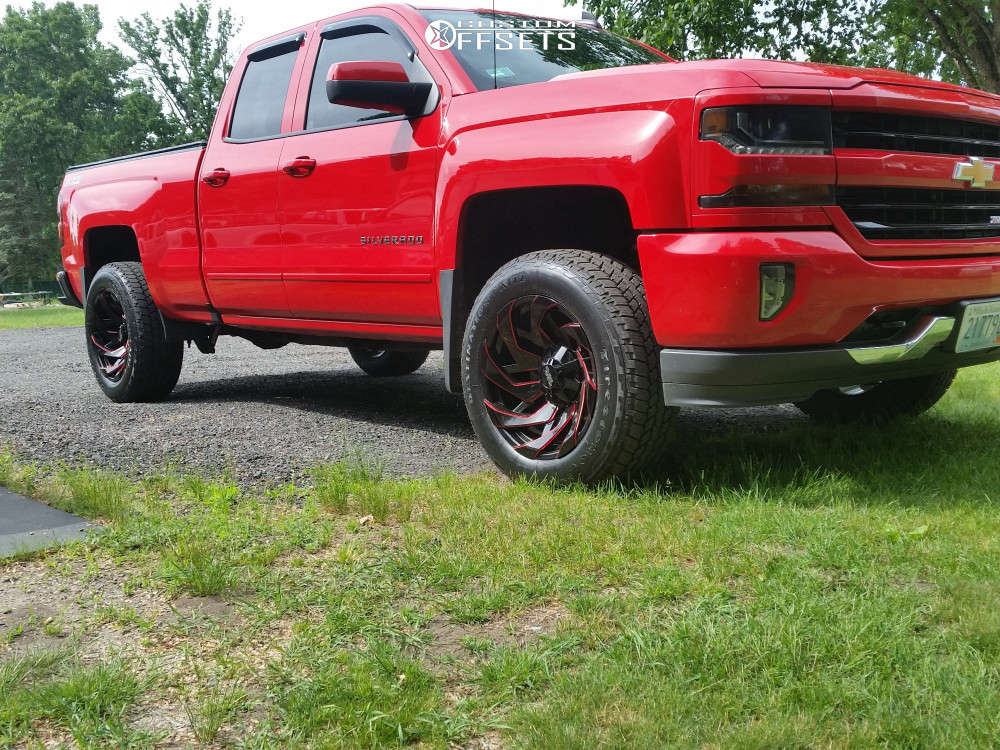 """2017 Chevrolet Silverado 1500 Aggressive > 1"""" outside fender on 20x10 -19 offset Off Road Monster M24 and 275/60 Firestone Destination At2 on Leveling Kit - Custom Offsets Gallery"""