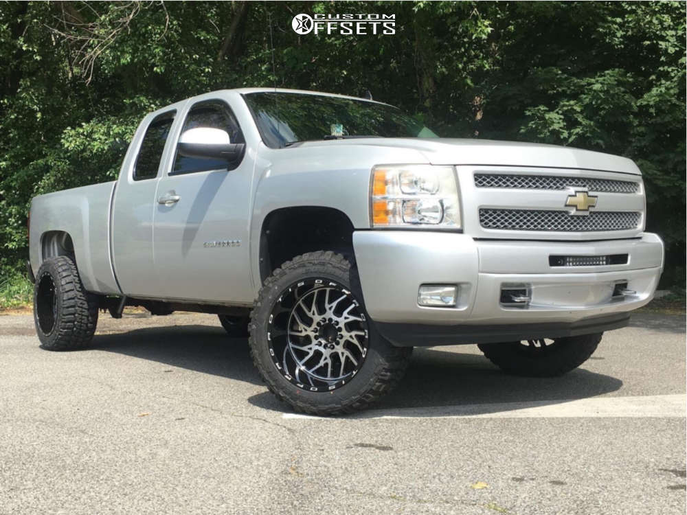 """2011 Chevrolet Silverado 1500 Aggressive > 1"""" outside fender on 20x12 -44 offset TIS 544 and 33""""x12.5"""" Federal Couragia M/t on Suspension Lift 3.5"""" - Custom Offsets Gallery"""