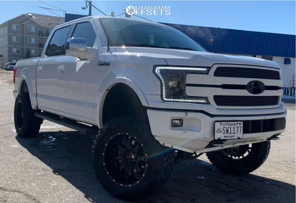 """2018 Ford F-150 Aggressive > 1"""" outside fender on 20x12 -40 offset Enthuze Riddler and 35""""x12.5"""" Goodyear Wrangler Duratrac on Suspension Lift 6"""" - Custom Offsets Gallery"""