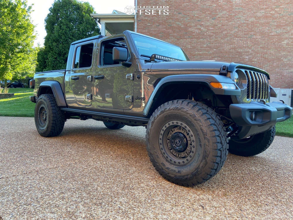 """2020 Jeep Gladiator Aggressive > 1"""" outside fender on 17x9.5 -18 offset Black Rhino Abrams and 37""""x12.5"""" Toyo Open Country R/t on Suspension Lift 3.5"""" - Custom Offsets Gallery"""