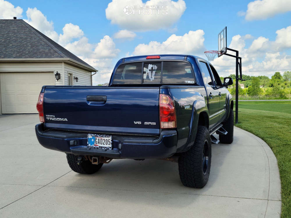 """2005 Toyota Tacoma Aggressive > 1"""" outside fender on 17x9 -12 offset Fuel Stroke and 33""""x12.5"""" Nitto Terra Grappler on Suspension Lift 3"""" - Custom Offsets Gallery"""