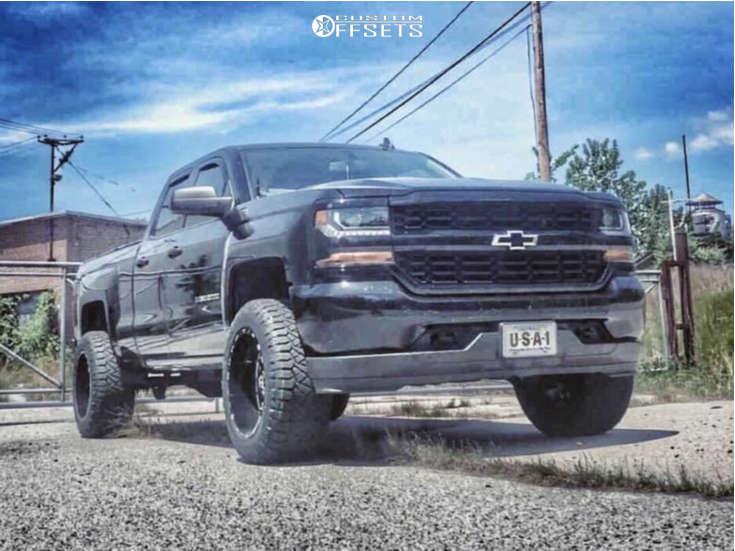 "2019 Chevrolet Silverado 1500 LD Aggressive > 1"" outside fender on 20x12 -44 offset TIS 544bm and 33""x12.5"" Nitto Ridge Grapplers on Leveling Kit - Custom Offsets Gallery"