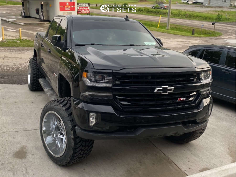 """2017 Chevrolet Silverado 1500 Super Aggressive 3""""-5"""" on 22x14 0 offset Vision Spyder and 355/35 AMP Pro At on Suspension Lift 6"""" - Custom Offsets Gallery"""