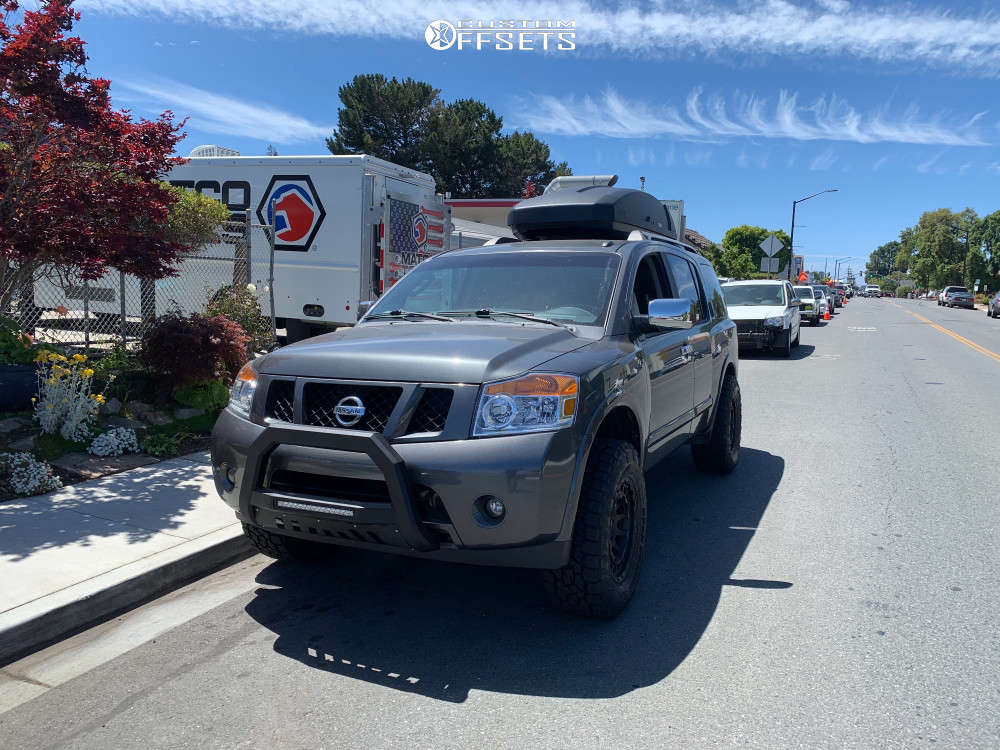 """2010 Nissan Armada Aggressive > 1"""" outside fender on 18x9.5 -18 offset Black Rhino Chamber and 305/65 Toyo Tires Open Country A/t Ill on Leveling Kit - Custom Offsets Gallery"""