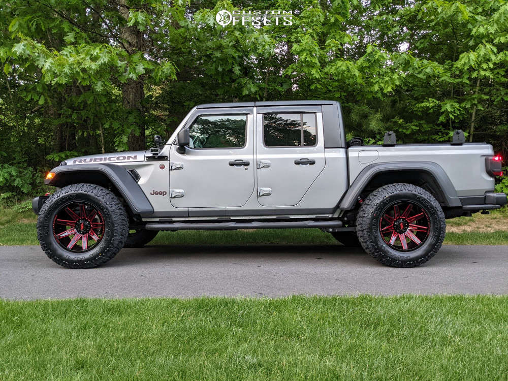 """2020 Jeep Gladiator Aggressive > 1"""" outside fender on 20x10 -19 offset Off Road Monster M25 and 37""""x13.5"""" Milestar Patagonia Mt on Stock Suspension - Custom Offsets Gallery"""