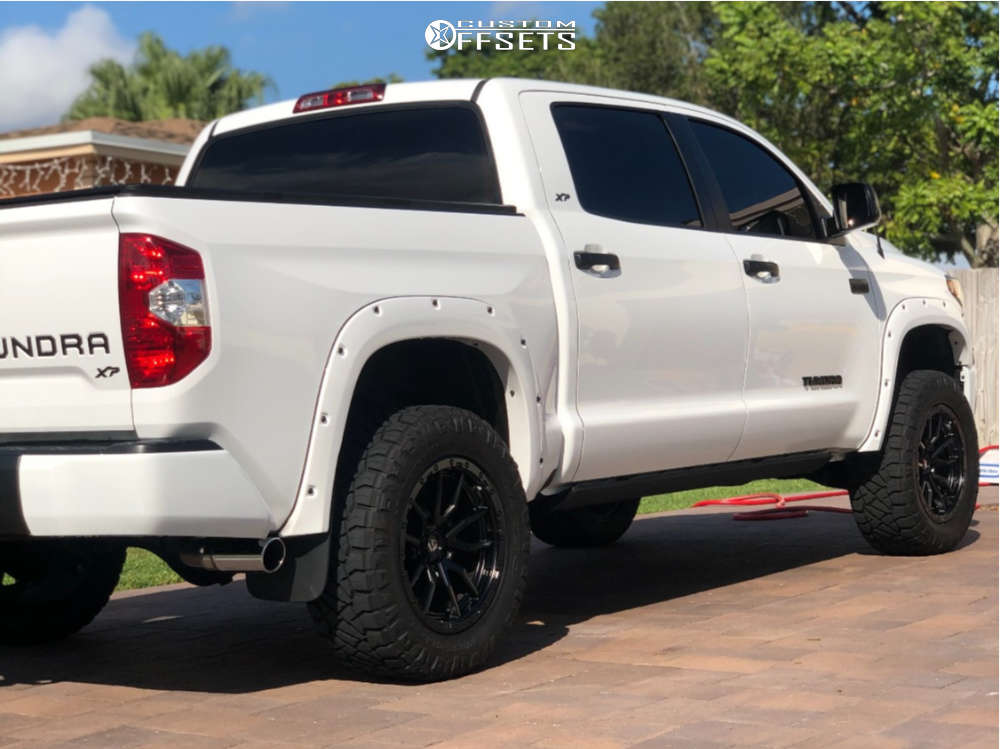 """2019 Toyota Tundra Aggressive > 1"""" outside fender on 20x9 1 offset Fuel Rebel and 295/60 Nitto Ridge Grapplers on Suspension Lift 3"""" - Custom Offsets Gallery"""