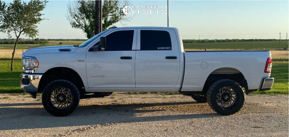 """2021 Ram 2500 Super Aggressive 3""""-5"""" on 22x14 -76 offset Hostile Jigsaw H116 and 33""""x14.5"""" AMP Mud Terrain Attack M/t A on Leveling Kit - Custom Offsets Gallery"""