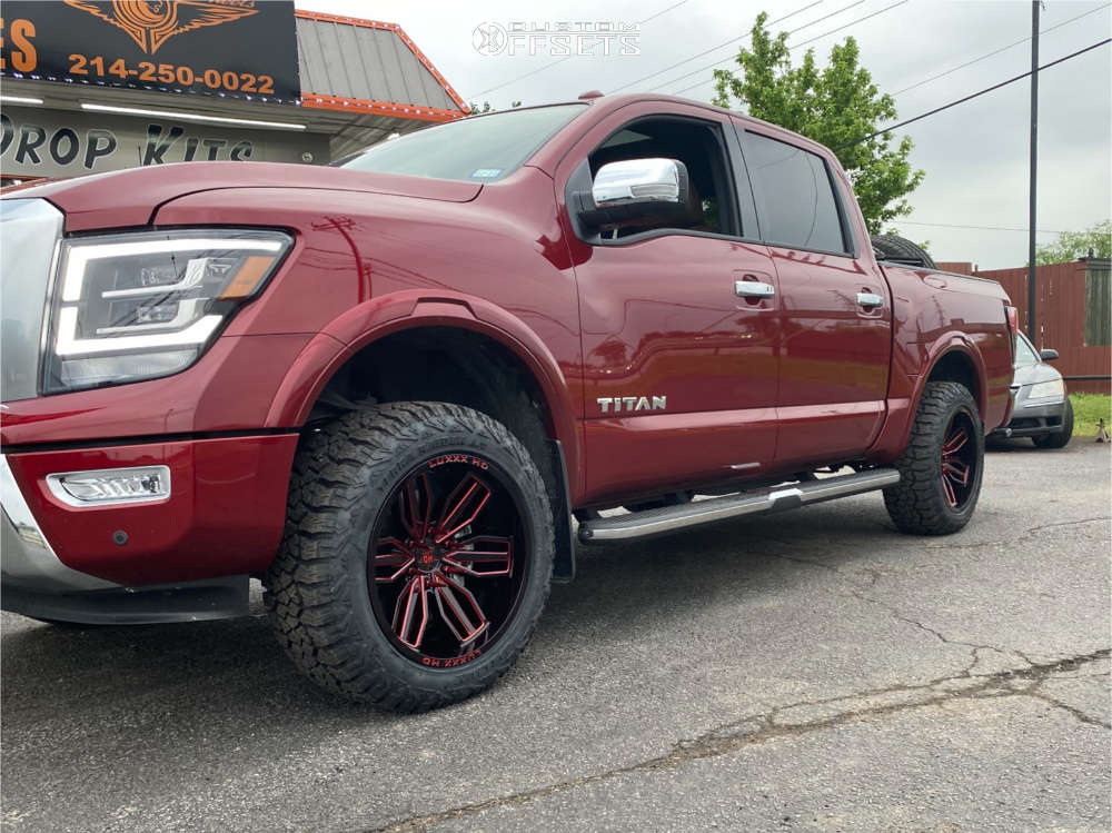 """2021 Nissan Titan Aggressive > 1"""" outside fender on 20x10 -18 offset Luxxx HD Lhd21 and 275/55 Delium Terra Raider on Leveling Kit - Custom Offsets Gallery"""