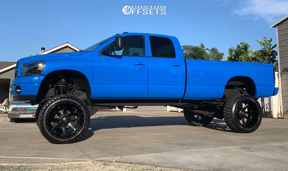 """2003 Dodge Ram 3500 Hella Stance >5"""" on 24x5 -190.5 offset Fuel Maverick and 37""""x14.5"""" Comforser Cf3000 on Suspension Lift 7.5"""" & Body 3"""" - Custom Offsets Gallery"""