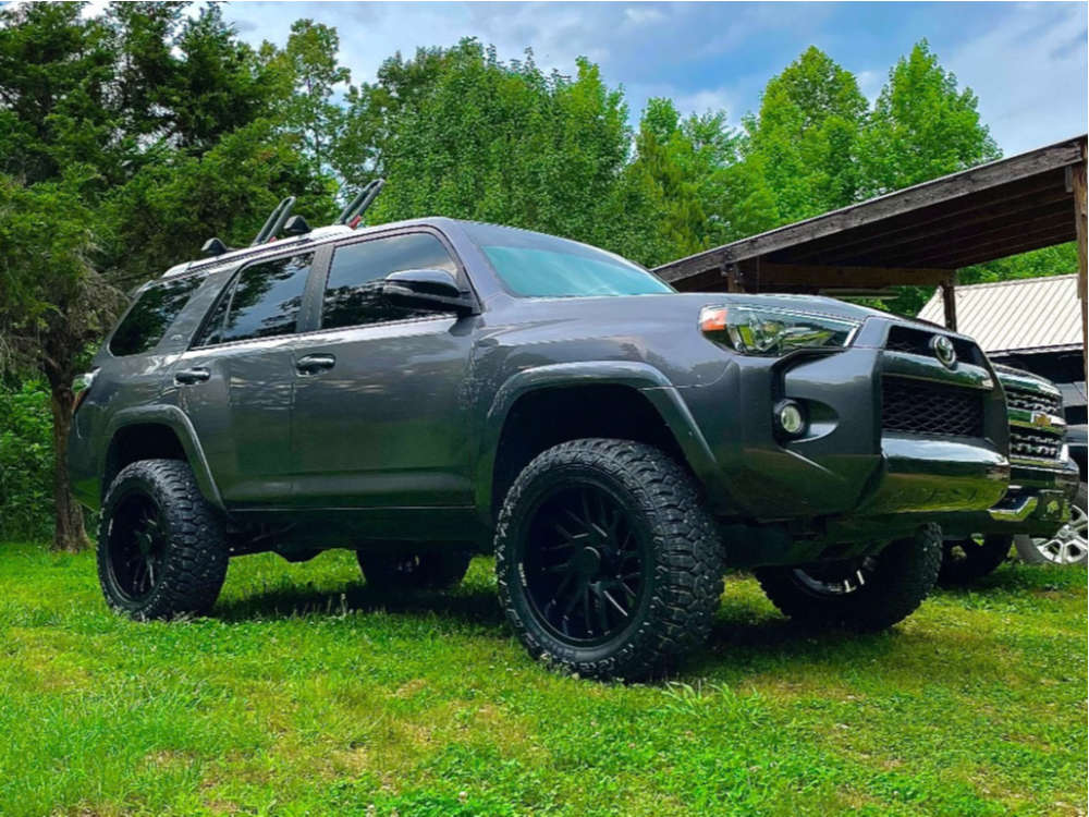 """2016 Toyota 4Runner Aggressive > 1"""" outside fender on 20x12 -51 offset ARKON OFF-ROAD Mandela and 33""""x12.5"""" Fury Offroad Country Hunter Rt on Suspension Lift 3"""" - Custom Offsets Gallery"""