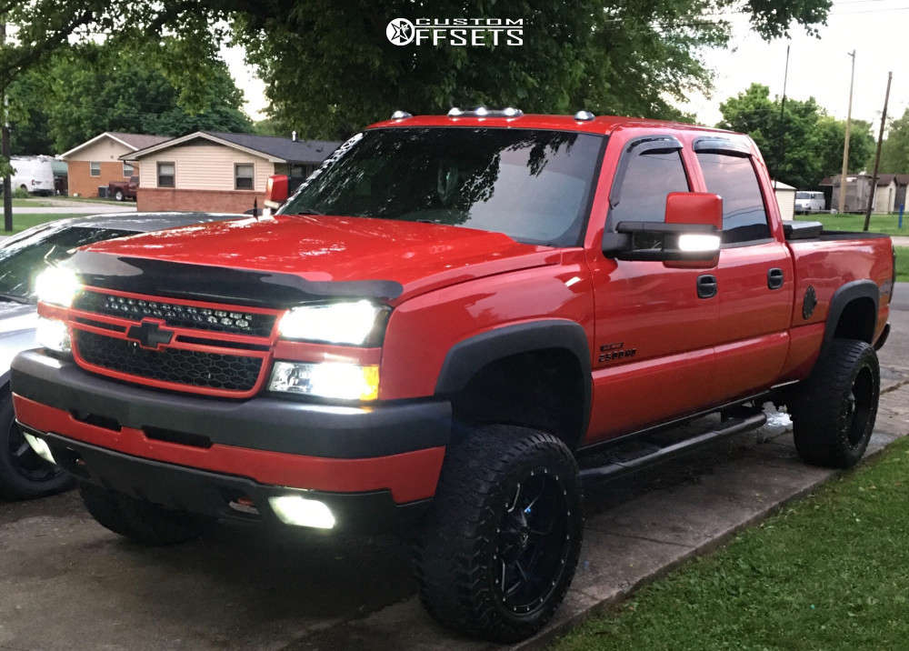 """2006 Chevrolet Silverado 2500 HD Aggressive > 1"""" outside fender on 20x10 -18 offset Fuel Maverick D538 and 285/55 AMP Terrain Gripper At G on Suspension Lift 3"""" - Custom Offsets Gallery"""