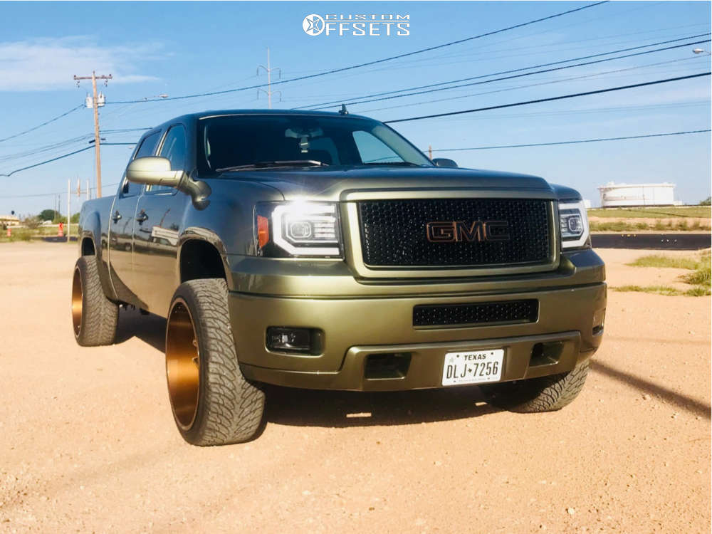 """2012 GMC Sierra 1500 Aggressive > 1"""" outside fender on 24x12 -57 offset Vision Sliver and 35""""x12.5"""" Atturo Az800 on Level 2"""" Drop Rear - Custom Offsets Gallery"""