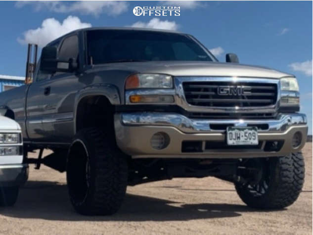 """2003 GMC Sierra 2500 HD Super Aggressive 3""""-5"""" on 24x14 -76 offset TIS 544bm and 35""""x12.5"""" Comforser Cf3000 on Suspension Lift 6"""" - Custom Offsets Gallery"""