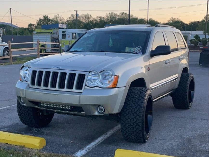 "2010 Jeep Grand Cherokee Hella Stance >5"" on 22x12 -51 offset ARKON OFF-ROAD Caesar & 33""x12.5"" Venom Power Terrain Hunter Xt on Suspension Lift 3"" - Custom Offsets Gallery"